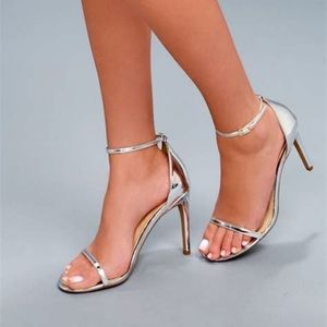 Lulus Angie Silver Ankle Strap Heels